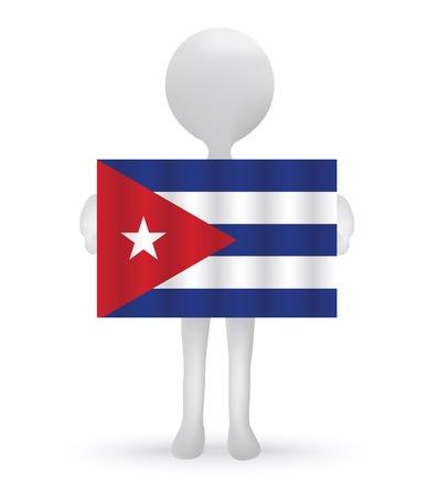cubana: peque�o hombre 3d que sostiene una bandera cubana