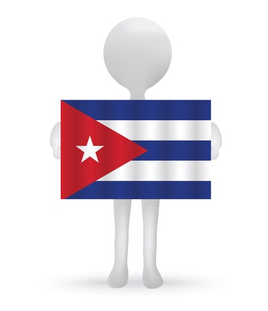 cuban flag: small 3d man holding a Cuban Flag