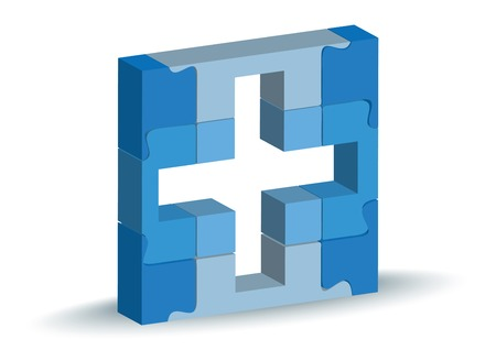 facility:  Vector Illustration - medical facility icon in puzzle Illustration