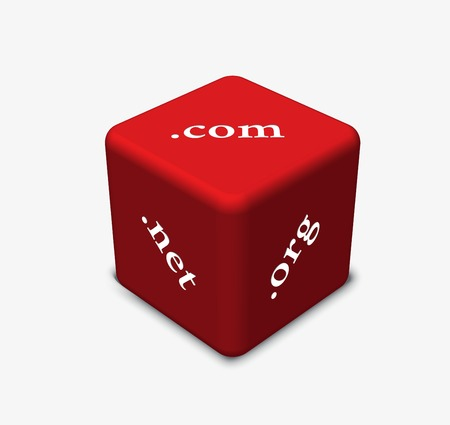 domains: Vector Illustration - dice in red color with Internet domains