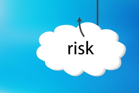 contingency: Vector Illustration - risk text cloud on blue back ground