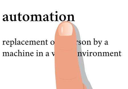 Ilustración vectorial - diccionario de palabras de automatización con un dedo en la llaga Ilustración de vector