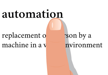 industrialization: Vector Illustration - dictionary word of automation with a finger on it