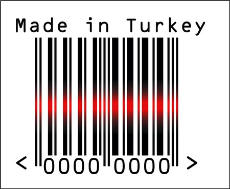 Vector Illustration of Barcode or Bar Code icon and red laser sensor beam over Made in Turkey Illustration