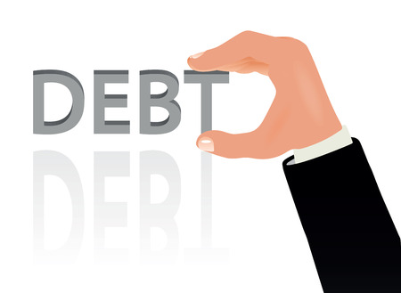 Vector Illustration - Hand and the word Debt Vector