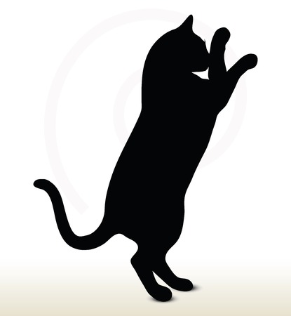 illustration of cat silhouette isolated on white background - in boxing pose