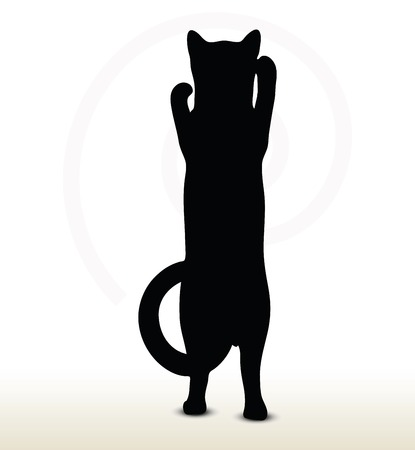 illustration of cat silhouette isolated on white background - in boxing pose Vector