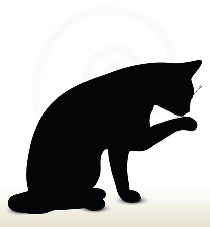 illustration of cat silhouette isolated on white background - in cleaning-pawl pose Stock Illustratie