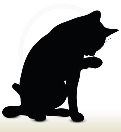 Illustrazione di gatto silhouette isolato su sfondo bianco - nella pulizia-nottolino posa Archivio Fotografico - 32094756