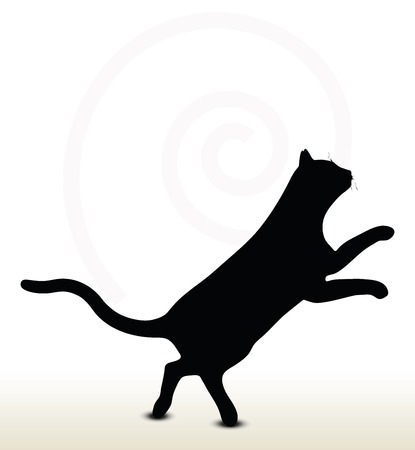 illustration of cat silhouette isolated on white background - in jumping pose Vector