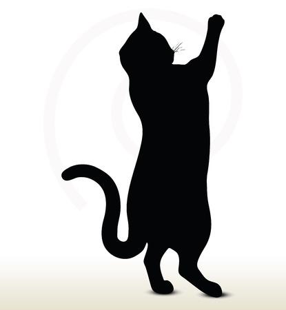 猫シルエット - ポーズに達することの白い背景で隔離のイラスト  イラスト・ベクター素材