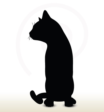 cat silhouette: illustration of cat silhouette isolated on white background - in sitting pose Illustration