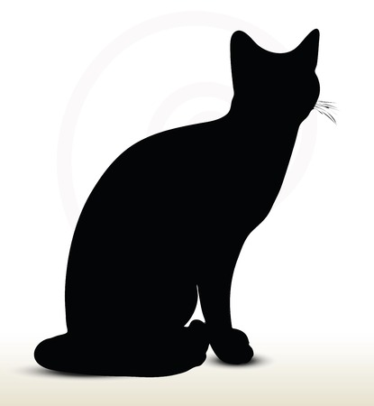 black shadow: illustration of cat silhouette isolated on white background - in sitting pose Illustration