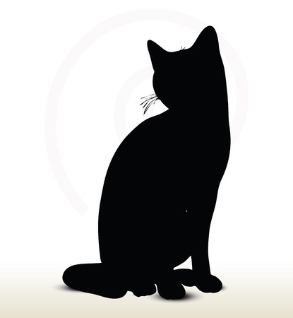 illustration of cat silhouette isolated on white background - in sitting pose Stock Illustratie