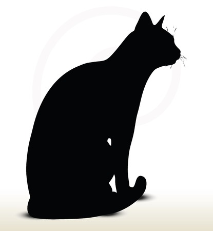 illustration of cat silhouette isolated on white background - in sitting pose Vector
