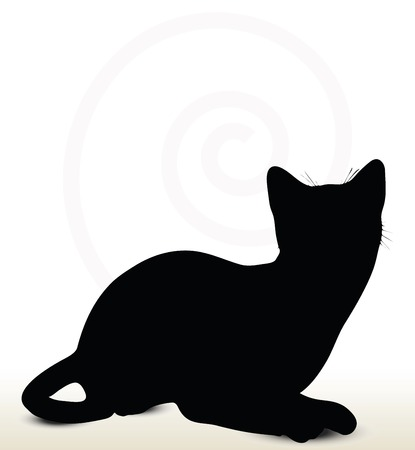 illustration of cat silhouette isolated on white background - in sitting pose Illustration