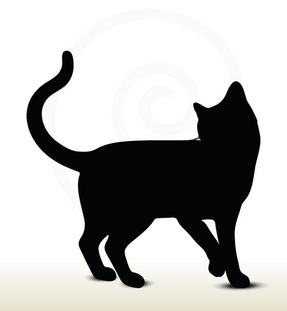 illustration of cat silhouette isolated on white background - in turn-around pose Vector