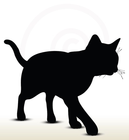 illustration of cat silhouette isolated on white background - in walking pose Vector