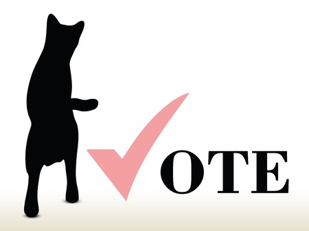 illustration of cat silhouette isolated on white background - in jumping pose over vote Vector
