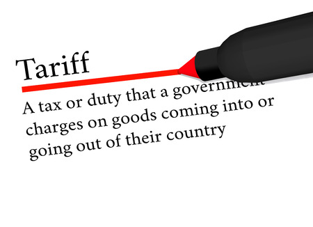 tariff: term of tariff underlined in red color by a pen. isolated on white background. Illustration