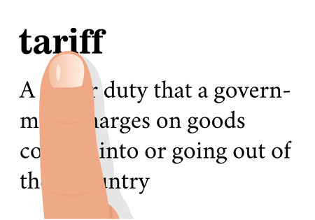 levy: term of tariff with a forefinger on it. isolated on white background.