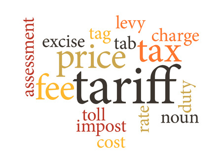 tariff: term of tariff in word clouds. isolated on white background.