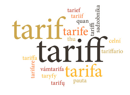 term of tariff in multi languages of word clouds. isolated on white background.
