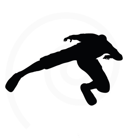 illustration of senior climber man silhouette isolated on white background  - in climbing pose Vector