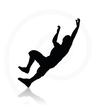 45 50 years: illustration of senior climber man silhouette isolated on white background  - in climbing pose