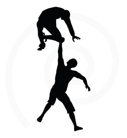 silhouette of two senior climbers men team holding on with a helping hand Vector