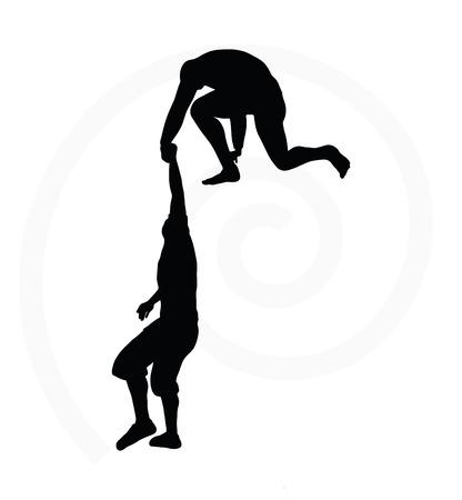 Silueta de dos escaladores de alto nivel los hombres del equipo que sostiene con una mano de ayuda Foto de archivo - 33460975
