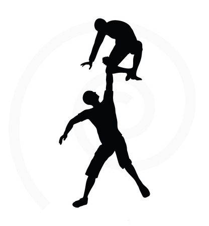 45 50 years: silhouette of two senior climbers men team holding on with a helping hand