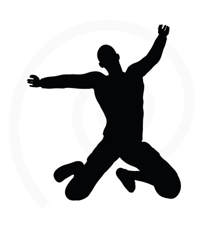 arms open: illustration of senior climber man silhouette isolated on white background  - on summit with arms open