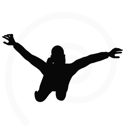 man flying: man silhouette isolated on white background  -   in flying pose
