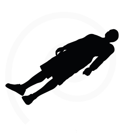 man silhouette isolated on white background  -  with arms open Illustration