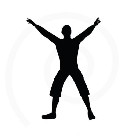 one person only: man silhouette isolated on white background  -  with arms open Illustration