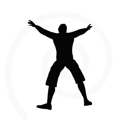 arms open: man silhouette isolated on white background  -  with arms open Illustration