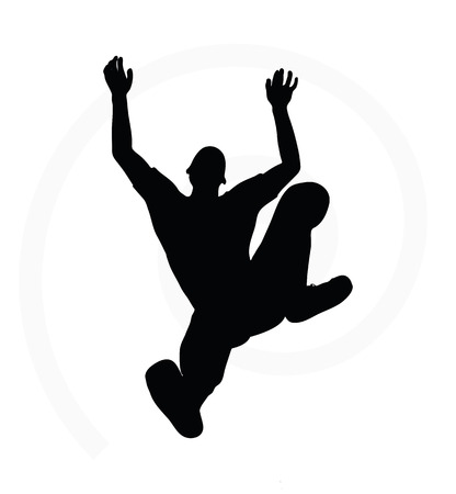 alternative rock: illustration of senior climber man silhouette isolated on white background  - in climbing pose