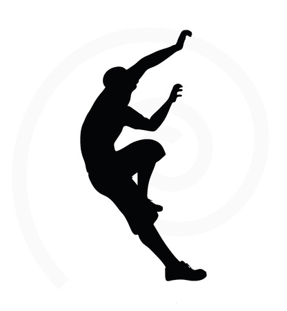 one person only: illustration of senior climber man silhouette isolated on  white background  - in climbing pose