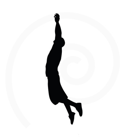 man silhouette isolated on white background  -  in hanging pose Illustration