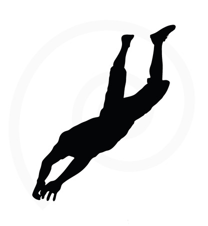 one person only: man silhouette isolated on white background  -  in hanging pose Illustration