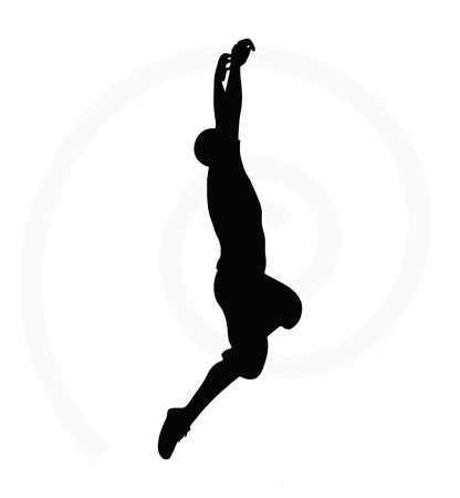 one person only: man silhouette isolated on white background - in hanging pose
