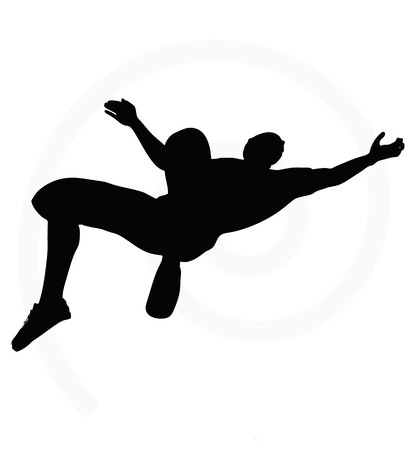 beetling: man silhouette isolated on white background - in hanging pose