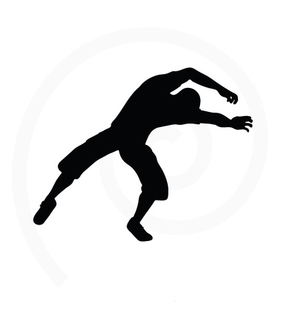 drooping: man silhouette isolated on white background - in underhanging or chasing pose Illustration
