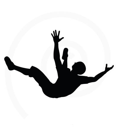 one person only: man silhouette isolated on white background  -  in falling pose
