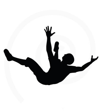 hombre cayendo: silueta del hombre aislado en el fondo blanco - en la caída pose Vectores