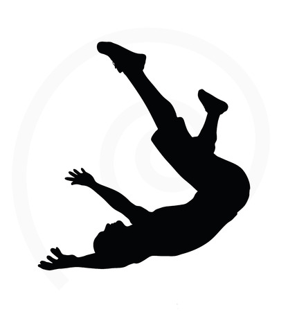 falling: man silhouette isolated on white background  -  in falling pose