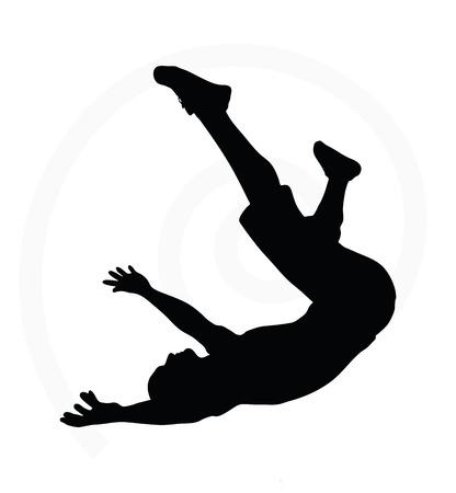hombre cayendo: silueta del hombre aislado en el fondo blanco - en la ca�da pose Vectores