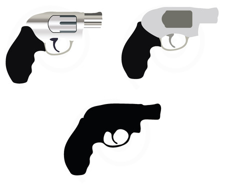 firearm silhouette isolated on white background Illustration
