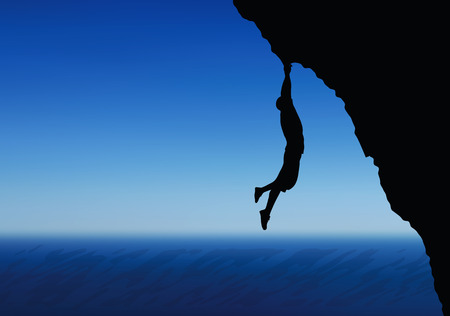 cragsman: illustration of senior climber man silhouette  -  in hanging pose